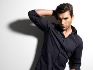 male model in black shirt