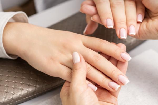 close-up manicured hands